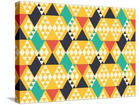 Abstract Retro Pattern. Vector Illustration.- artsandra-Stretched Canvas Print
