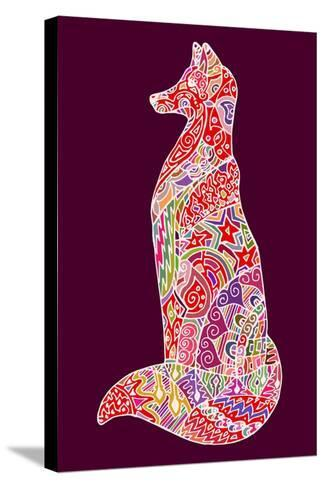 Abstract Doodle Outline Fox Illustration. Vector, Colorful Image.- Neliakott-Stretched Canvas Print
