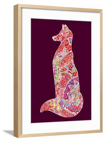 Abstract Doodle Outline Fox Illustration. Vector, Colorful Image.- Neliakott-Framed Art Print
