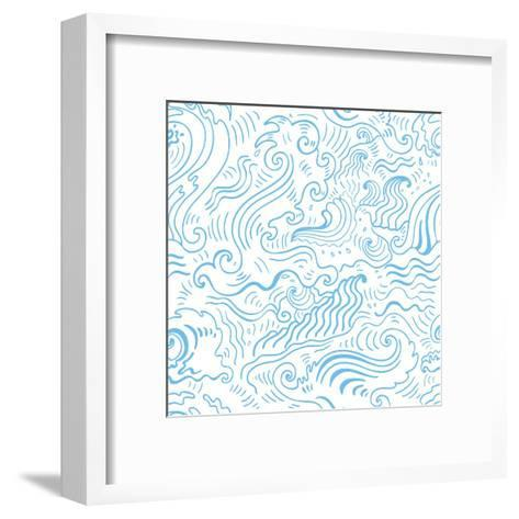 Grange Sea Background. Seamless Hand-Drawn Vector Illustration-Katyau-Framed Art Print