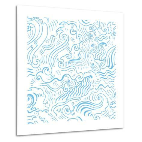 Grange Sea Background. Seamless Hand-Drawn Vector Illustration-Katyau-Metal Print
