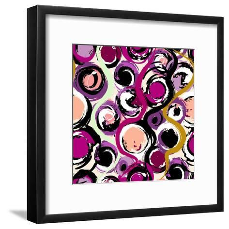 Seamless Background Pattern, with Circles and Strokes, Grungy-Kirsten Hinte-Framed Art Print