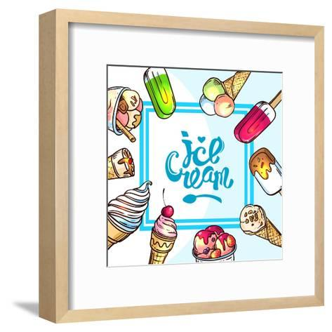Beautiful Hand Drawn Vector Illustration Ice Cream. Different Ice Cream for Your Design.-Margarita Tkachenko-Framed Art Print