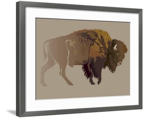 Buffalo. Hand-Drawn Illustration, Detailed Variant.- imagewriter-Framed Art Print