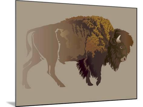 Buffalo. Hand-Drawn Illustration, Detailed Variant.- imagewriter-Mounted Art Print