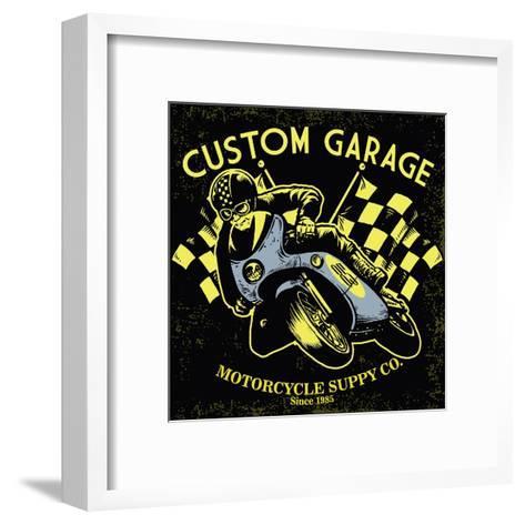 Retro Motorcycle Race- bazzier-Framed Art Print