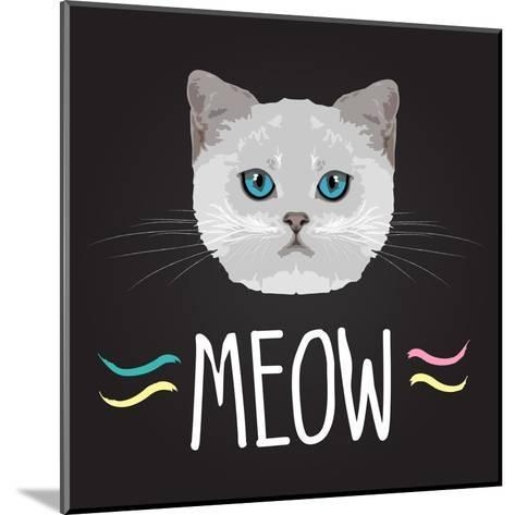 Cat Typography, T-Shirt Graphics , Vectors- PatternTrends-Mounted Art Print