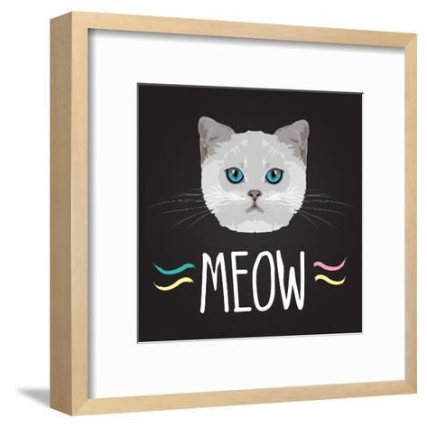 Cat Typography, T-Shirt Graphics , Vectors- PatternTrends-Framed Art Print