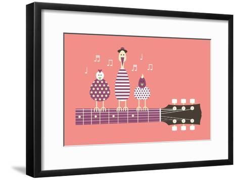 Birds Sing to the Guitar Neck, Vector Cartoon Illustration, Flat Design-Ladislav Krajca-Framed Art Print