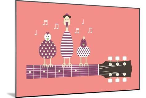 Birds Sing to the Guitar Neck, Vector Cartoon Illustration, Flat Design-Ladislav Krajca-Mounted Art Print