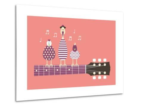 Birds Sing to the Guitar Neck, Vector Cartoon Illustration, Flat Design-Ladislav Krajca-Metal Print