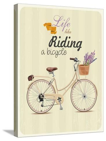 Bicycle with Lavender in Basket. Poster in Vintage Style. Vector Illustration.-Tatsiana Tsyhanova-Stretched Canvas Print
