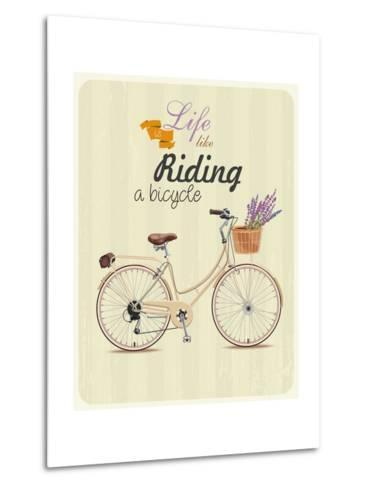 Bicycle with Lavender in Basket. Poster in Vintage Style. Vector Illustration.-Tatsiana Tsyhanova-Metal Print