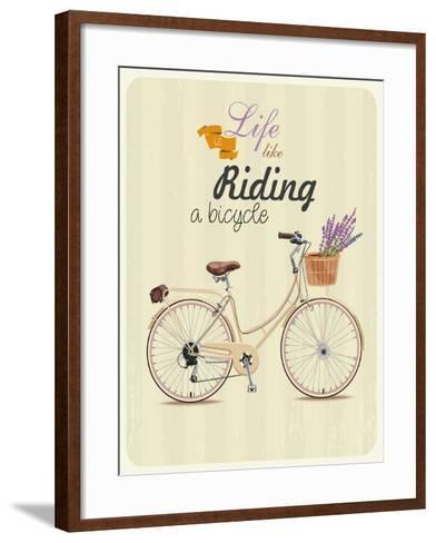 Bicycle with Lavender in Basket. Poster in Vintage Style. Vector Illustration.-Tatsiana Tsyhanova-Framed Art Print