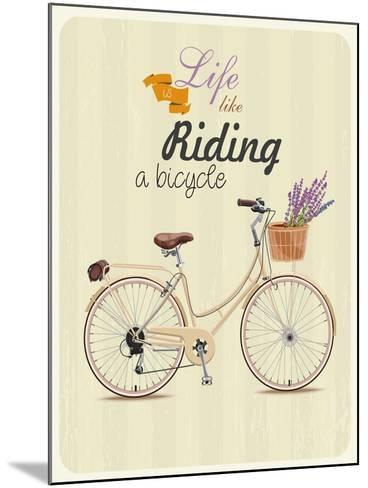 Bicycle with Lavender in Basket. Poster in Vintage Style. Vector Illustration.-Tatsiana Tsyhanova-Mounted Art Print