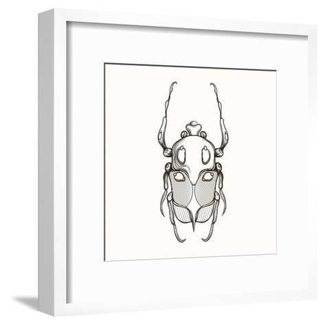 Hand Drawn Engraving Sketch Scarab Beetle, May Bug, European Diving Beetle. Vector Illustration For-panki-Framed Art Print