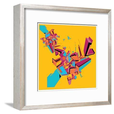 Geometric Design Abstract Background for Poster- singpentinkhappy-Framed Art Print