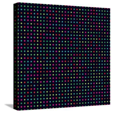 Bright Colorful Dots on a Dark Background- Leone_V-Stretched Canvas Print