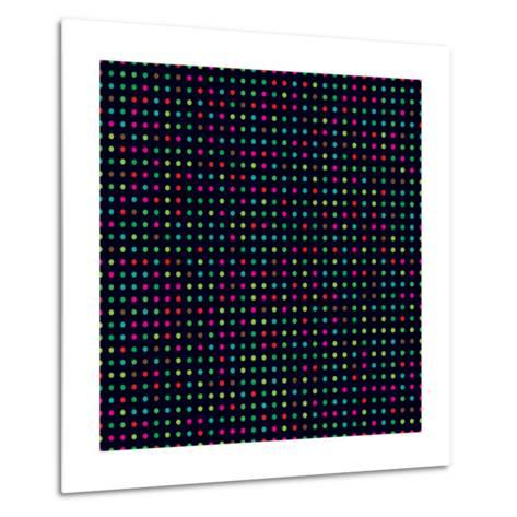 Bright Colorful Dots on a Dark Background- Leone_V-Metal Print