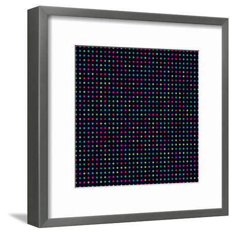 Bright Colorful Dots on a Dark Background- Leone_V-Framed Art Print