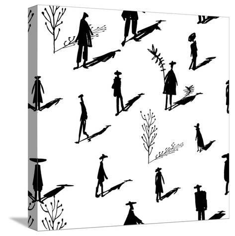 Seamless Pattern of Trees and People Silhouettes with Shadows Hand-Drawn Ink. Art Retro Background- Yurta-Stretched Canvas Print