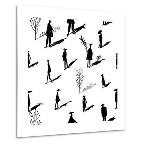 Seamless Pattern of Trees and People Silhouettes with Shadows Hand-Drawn Ink. Art Retro Background- Yurta-Metal Print