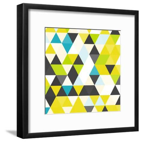 Vintage Triangle Pattern.Geometric Hipster Retro Background with Place for Your Text. Retro Triangl-Veronika M-Framed Art Print