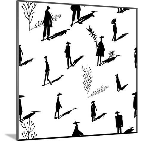 Seamless Pattern of Trees and People Silhouettes with Shadows Hand-Drawn Ink. Art Retro Background- Yurta-Mounted Art Print