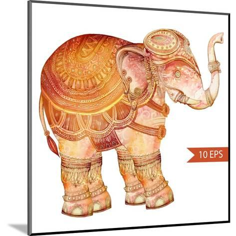 Vintage Elephant Illustration. Hand Draw Painted Ornament.Orient Traditional Ornament. Indian Style-polina lina-Mounted Art Print