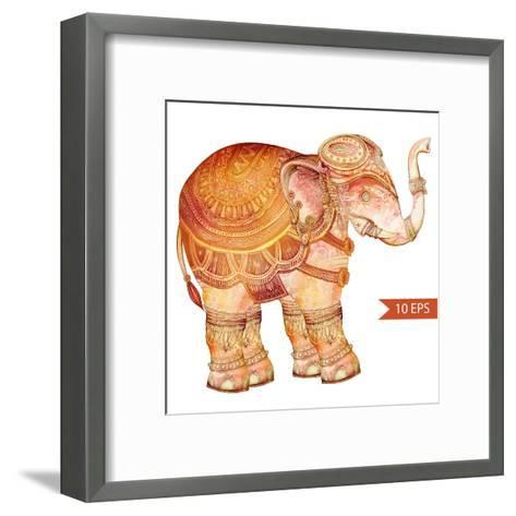 Vintage Elephant Illustration. Hand Draw Painted Ornament.Orient Traditional Ornament. Indian Style-polina lina-Framed Art Print