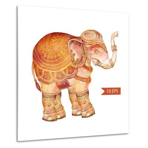 Vintage Elephant Illustration. Hand Draw Painted Ornament.Orient Traditional Ornament. Indian Style-polina lina-Metal Print