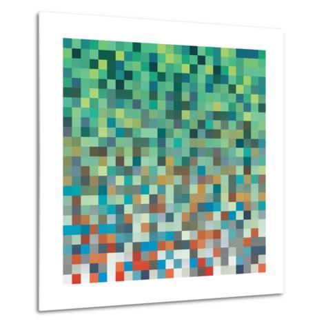 Pixel Art Style Pixel Background-Mike Taylor-Metal Print