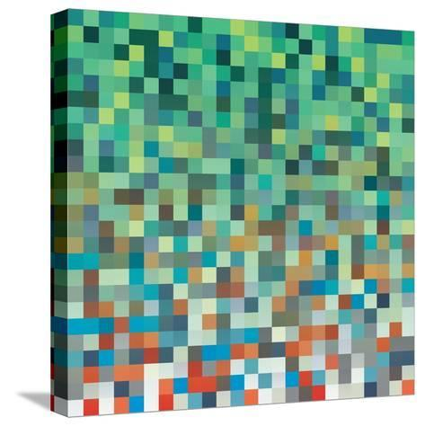 Pixel Art Style Pixel Background-Mike Taylor-Stretched Canvas Print