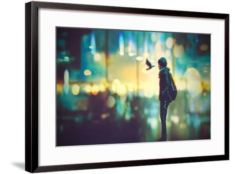 Futuristic Girl and a Bird Look Each Other in the Eyes on Night City Background,Illustration Painti-Tithi Luadthong-Framed Art Print