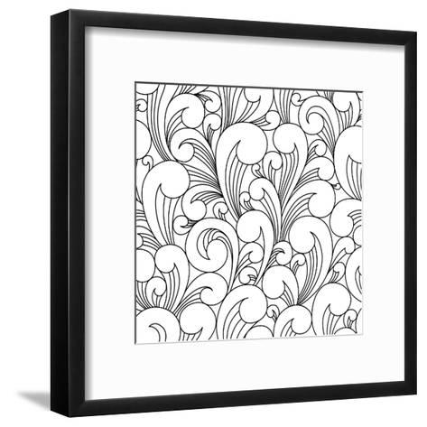 Vector Black and White Pattern with Abstract Waves. Can Be Used for Desktop Wallpaper or Frame for-Maria_Galybina-Framed Art Print
