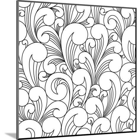 Vector Black and White Pattern with Abstract Waves. Can Be Used for Desktop Wallpaper or Frame for-Maria_Galybina-Mounted Art Print