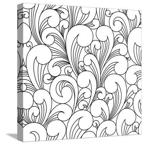 Vector Black and White Pattern with Abstract Waves. Can Be Used for Desktop Wallpaper or Frame for-Maria_Galybina-Stretched Canvas Print