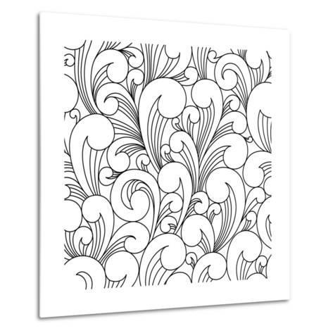 Vector Black and White Pattern with Abstract Waves. Can Be Used for Desktop Wallpaper or Frame for-Maria_Galybina-Metal Print