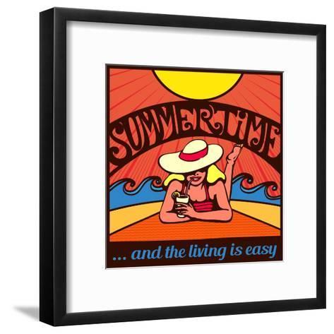 Summertime! Blond Relaxed Girl Sunbathing on a Beach with Waves and Blazing Sun, Vector Poster Desi-durantelallera-Framed Art Print