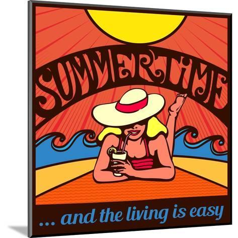 Summertime! Blond Relaxed Girl Sunbathing on a Beach with Waves and Blazing Sun, Vector Poster Desi-durantelallera-Mounted Art Print