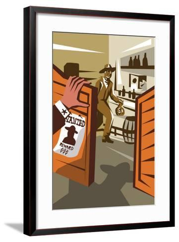 Poster Illustration of an Outlaw Cowboy Robber Holding Bag of Money Stealing from Saloon with Hand-patrimonio designs ltd-Framed Art Print