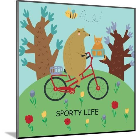 Cute Illustrations of Bear Riding a Bike in Cartoon Style. Sporty Life, Poster.-Kaliaha Volha-Mounted Art Print
