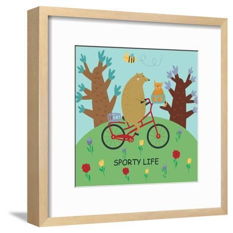 Cute Illustrations of Bear Riding a Bike in Cartoon Style. Sporty Life, Poster.-Kaliaha Volha-Framed Art Print