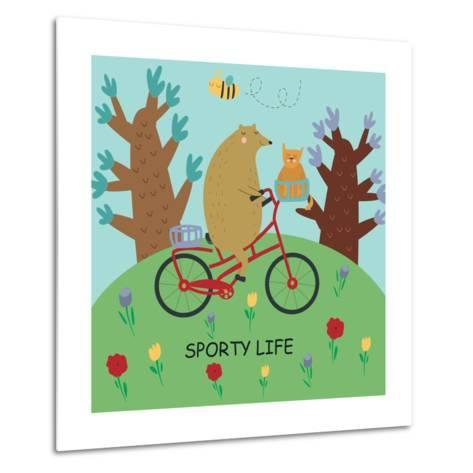 Cute Illustrations of Bear Riding a Bike in Cartoon Style. Sporty Life, Poster.-Kaliaha Volha-Metal Print
