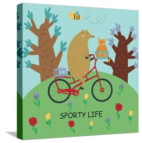 Cute Illustrations of Bear Riding a Bike in Cartoon Style. Sporty Life, Poster.-Kaliaha Volha-Stretched Canvas Print