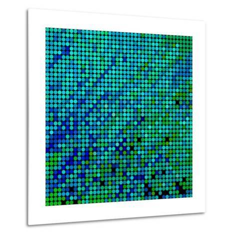 Abstract Vector Colored round Dots Background-Green Flame-Metal Print