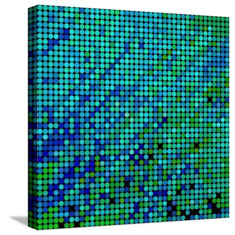 Abstract Vector Colored round Dots Background-Green Flame-Stretched Canvas Print