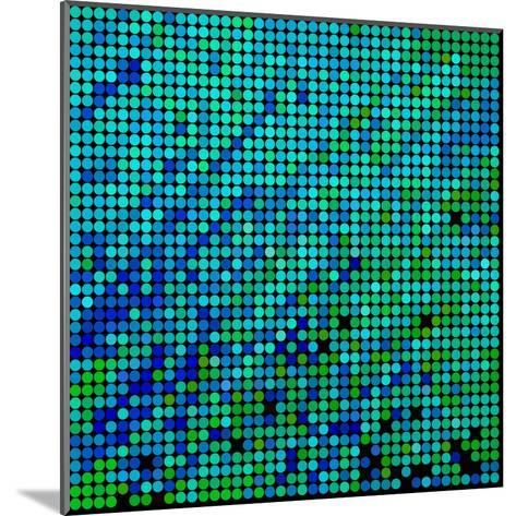 Abstract Vector Colored round Dots Background-Green Flame-Mounted Art Print