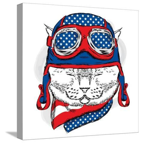 Funny Cat in the Hat and Scarf. Vector Illustration.-Vitaly Grin-Stretched Canvas Print