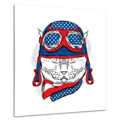 Funny Cat in the Hat and Scarf. Vector Illustration.-Vitaly Grin-Metal Print